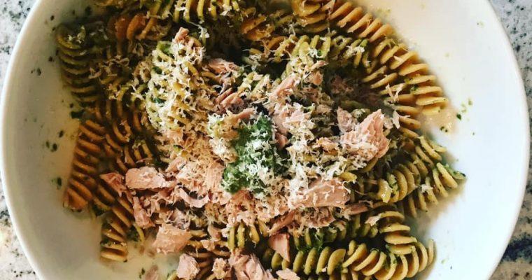 Pesto Tuna Chickpea Pasta