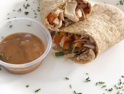Thai Peanut Chicken Wrap for a low calorie lunch