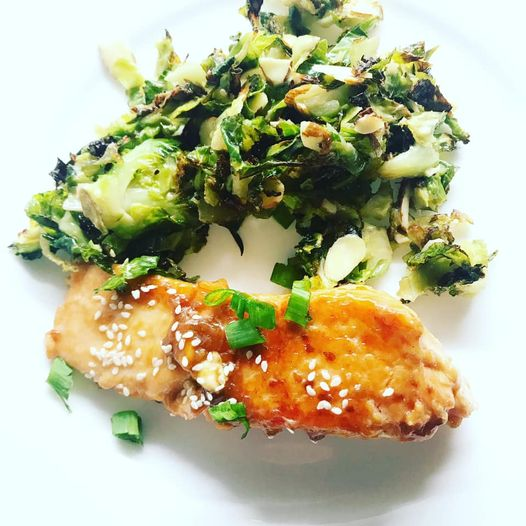 oven roasted citrus salmon with shredded Brussel Sprout Slaw