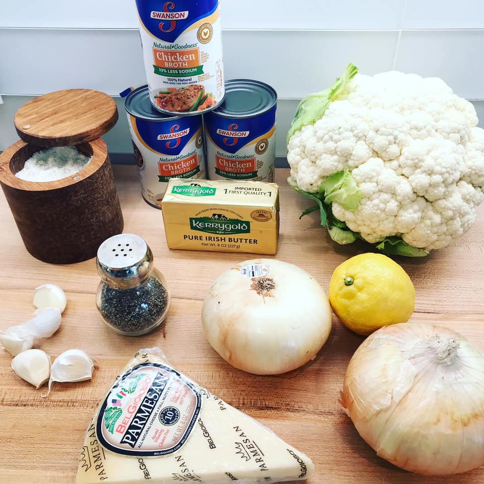 list of ingredients for cauliflower soup