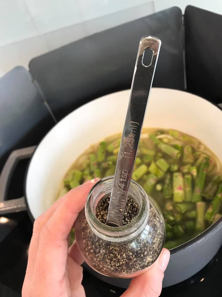 add pepper to soup