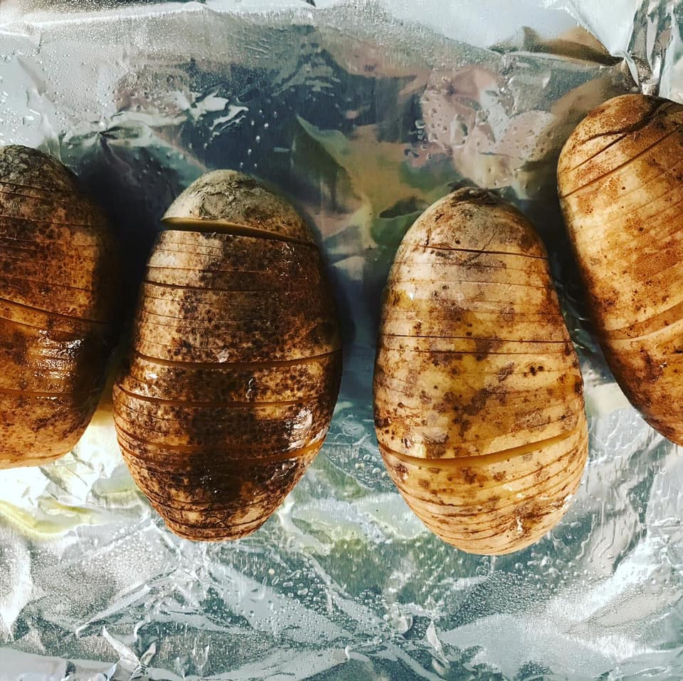 hasselback potatoes prepped and ready to put in oven