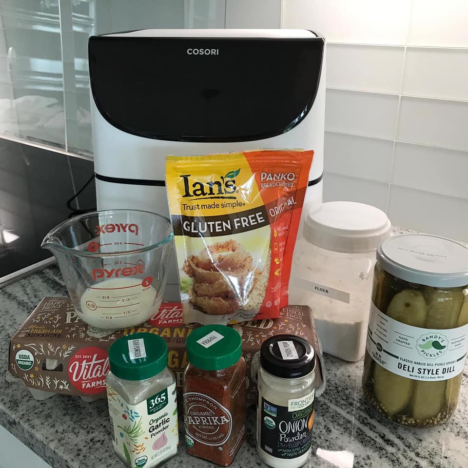 Ingredients for AIr Fried Dill Pickle Spears including the Cosori Air Fryer I used