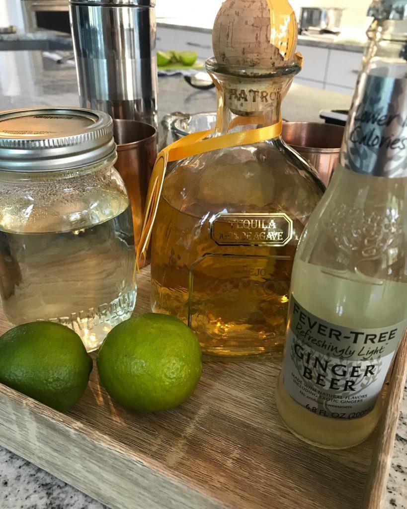 Ingredients for a Ginger Beer Margarita Mule