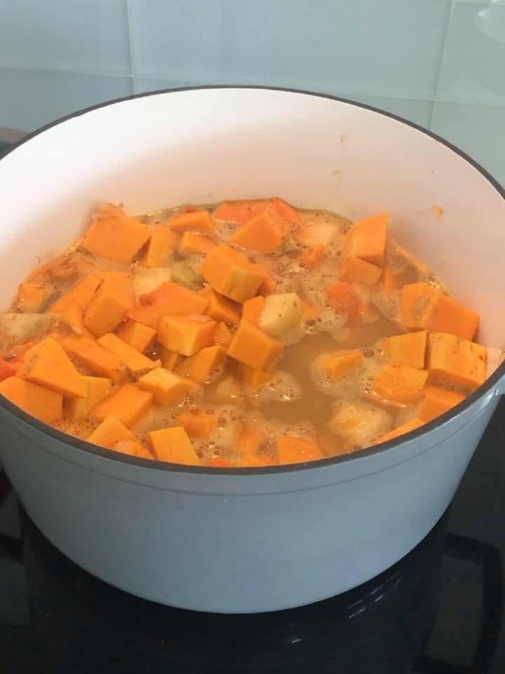 Healthy Butternut Squash Apple Soup in progress