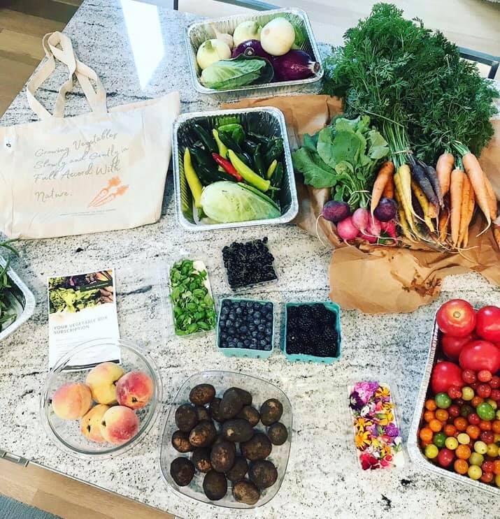 The chef's garden vegetable haul display
