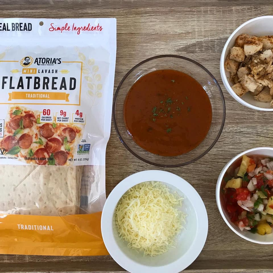 Packaged Lavash Flatbreads with ingredients for Caribbean Jerk Chicken Lavash Pizza